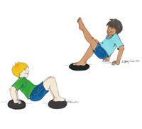 Begin With Gym : Balance On Objects Illustrations